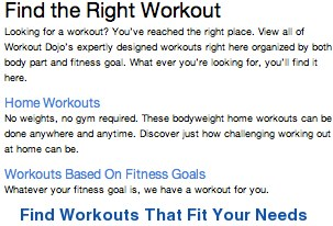 Find the right workout for your needs